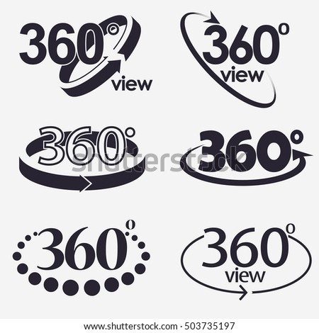 360 Angle Degrees view icon, flat round button Vector.