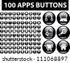 100 apps black glossy buttons set, vector - stock vector
