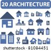 20 architecture icons, signs, vector illustrations - stock vector