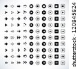 100 arrow sign icon set. Volume 02 (black version). Modern simple pictogram minimal, flat, solid, mono, monochrome, plain, contemporary style. Vector illustration web internet design elements in 8 eps - stock vector