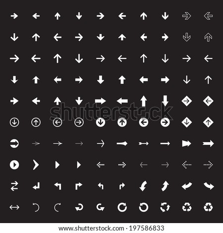 100 arrow sign icons with white background.