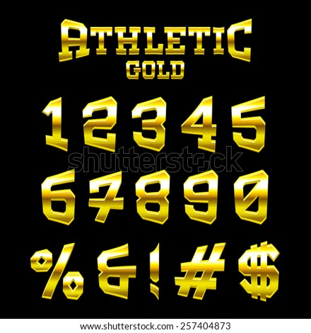 Athletic GOLD bold serif font. Part 6/6 last character (numbers)