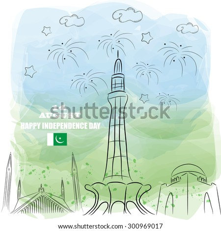 14 August. Pakistan Independence Day. hand drawn watercolor style Celebration Background. Vector Illustration