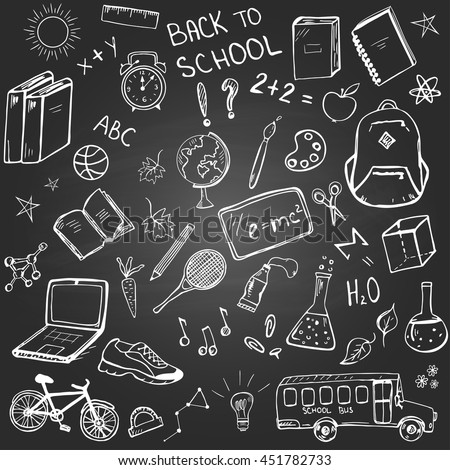 """Back to school"" set of hand drawn school related items and elements on the blackboard background"