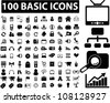 100 basic black web icons set, vector - stock vector