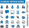 25 basic office icons. vector. blue series. - stock vector