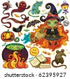 Big collection of Halloween objects, icons, design elements - stock vector