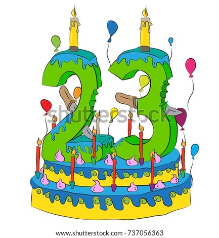 13 Birthday Cake Number Thirteen Candle Stock Vector ...