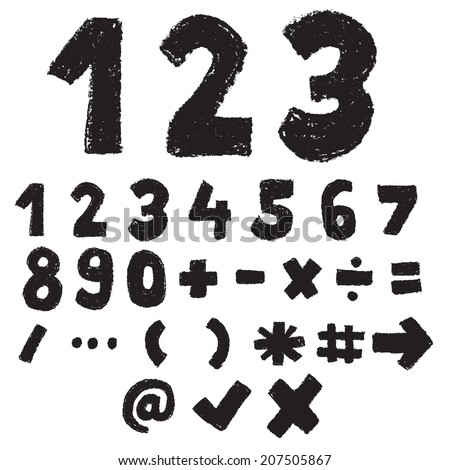 123 black and white color,numeric and symbol,doodle font