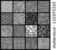 16 black and white seamless vector patterns. - stock vector