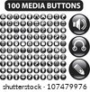 100 black glossy media buttons set, vectir - stock vector
