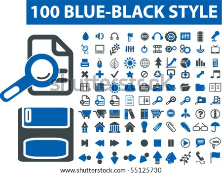 100 blue black style signs. vector