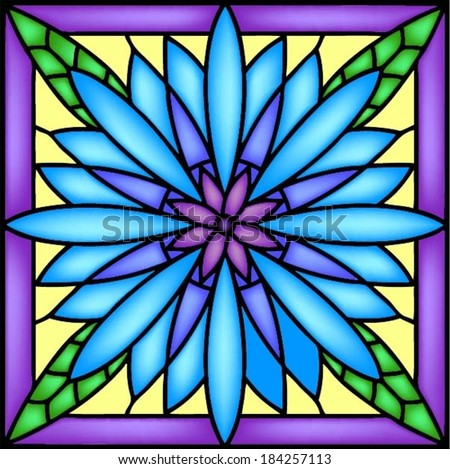 Blue flower - Cornflower (Centaurea cyanus) in stained glass window. Vector illustration