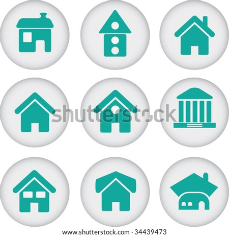 9 blue house glossy buttons. vector