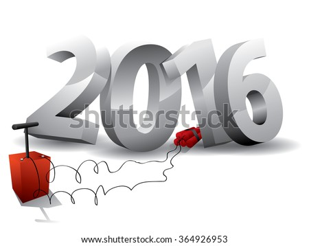2016  Bomb - 3d text with Dynamite