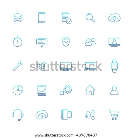 25 business, commerce, shopping, finance thin line icons with gradient isolated on white, vector illustration