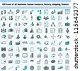 100 business icons, human resource, finance, logistic icon set - stock