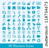 80 business icons, human resource vector elements, communication - stock vector