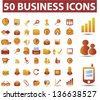 50 business, marketing, management, presentation, finance, human resources, office icons, signs, vector set - stock vector