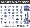 36 cafe & fast food signs. vector - stock vector