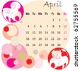 2011 calendar april with zodiac signs - stock vector