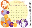 2012 calendar august with zodiac signs - stock vector
