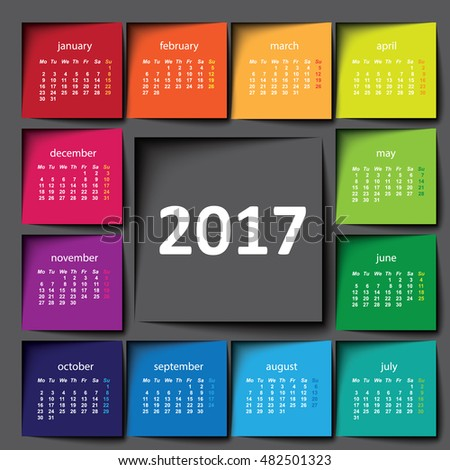 2017 calendar. Color post it
