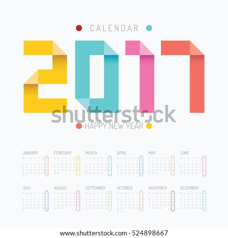 2017 Calendar colorful happy new year vector design.