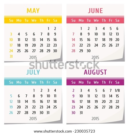 Calendar Monthly 2017 Year Vector Stationery Stock Vector ...