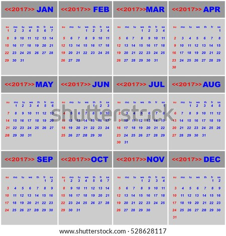 2017 calendar for business template, stock vector