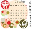 2011 calendar october with zodiac signs - stock vector