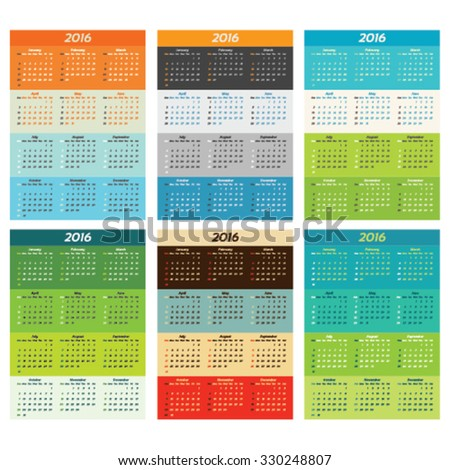 2016 calendar set in trendy colors