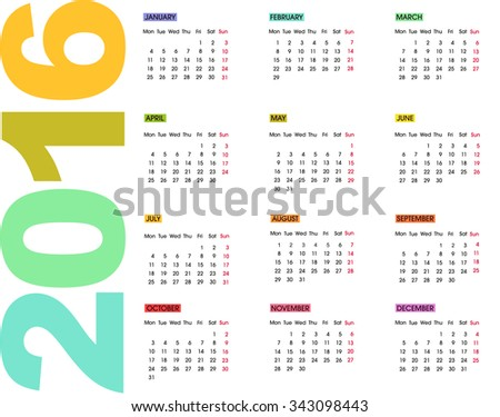 2016 Calendar. Weeks start with Monday. Colorful vector illustration on white background. Easy to edit.