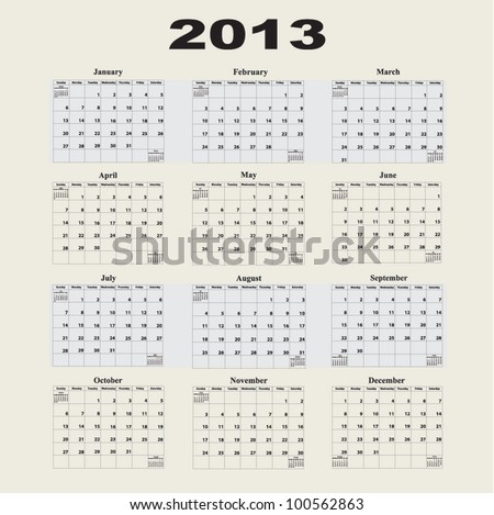 2013 Calendar with a Monday start day.