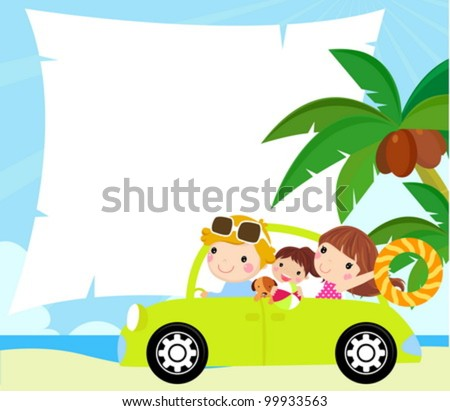 cartoon funny happy family goes on holiday by car