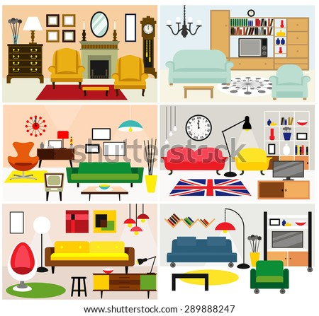 Cartoon Living Rooms With Furniture. Flat Style Vector Illustration. Part 45