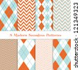 8 Chevron and Argyle Patterns in Aqua Blue, Turquoise, White & Coral Orange. For Scrapbook or Photo Collage. Modern Christmas Backgrounds. Matches my other pattern pack Image ID: 128027705 - stock photo