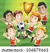 Children Soccer champion with winners trophy. cartoon character. - stock photo