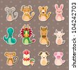 12 Chinese Zodiac animal stickers - stock vector