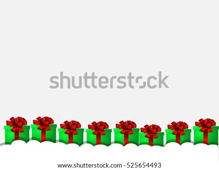 Christmas greeting card with gift box. Design for poster, card, invitation, placard, brochure, flyer. Vector templates