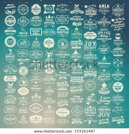 100 Christmas labels and decoration set. Retro Typography, Merry Christmas design. Badges, Logos, Borders, Ribbons, Icons.