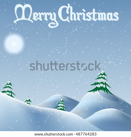 Christmas snowdrifts and trees in cartoon-style. For use as logos on cards, in printing, posters, invitations, web design and other purposes.