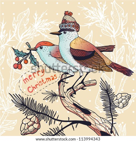 Christmas vector illustration of a couple of winter birds sitting on fir branches