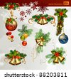 Christmas vector set of fir tree and evening balls, new year's  bells and festive bells - stock