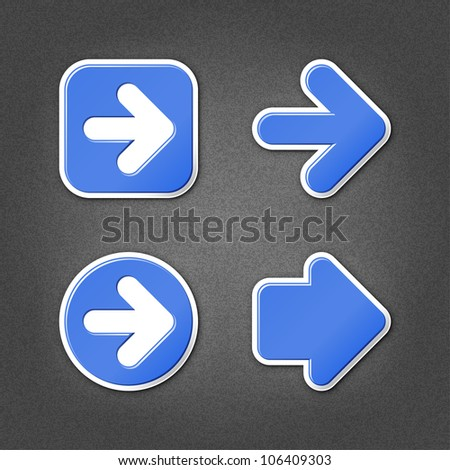 4 cobalt sticker arrow sign web icon. Smooth internet button with drop shadow on gray background with noise effect. This vector illustration clip-art design element saved in 10 eps