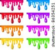 8 Color Paint Dripping, Isolated On White Background, Vector Illustration - stock photo