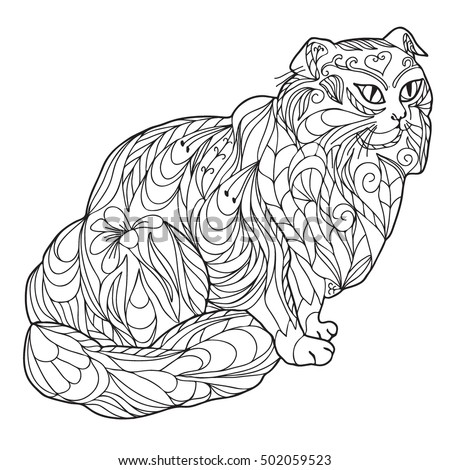 Coloring  book.  Hand drawn. Adults.  Black and white. Cat in zentangle style.