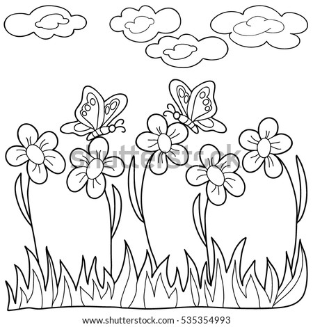 Coloring Book Hand Drawn Adults Children Stock Vector ...