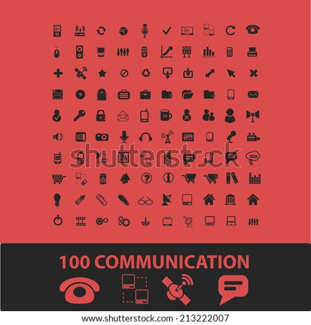 100 communication, connection isolated icons, signs, symbols, illustrations, silhouettes, vectors set