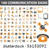 100 communication signs. vector - stock photo